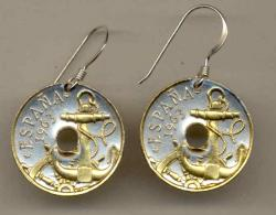 Gold on Silver Spain 50 Centimes Anchor and Wheel Earrings