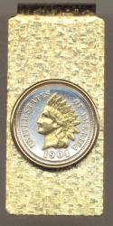 Gold on Silver Indian Head Cent Hinge Money Clip