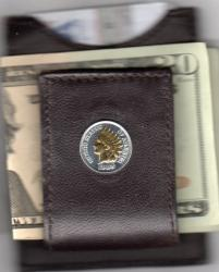 Gold on Silver Indian Head Cent Folding Money Clip