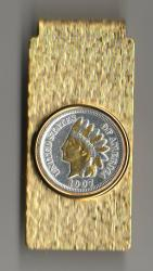 Gold and Silver on Silver Indian Head Cent Hinge Money Clip