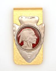 Hand Painted Buffalo Nickel (Obverse) Money Clip