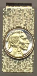 Gold on Silver Buffalo Nickel (Obv) Hinge Money Clip