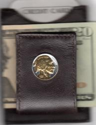 Gold on Silver Buffalo Nickel (Obv) Folding Money Clip