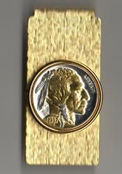 Gold and Silver on Silver Buffalo Nickel (Obv) Hinge Money Clip