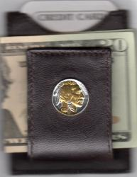Gold and Silver on Silver Buffalo Nickel (Obv) Folding Money Clip
