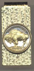 Gold on Silver Buffalo Nickel (Rev) Hinge Money Clip
