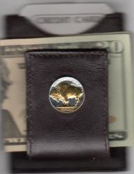 Gold on Silver Buffalo Nickel (Rev) Folding Money Clip