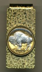 Silver on Gold Buffalo Nickel White Buffalo Hinge Money Clip