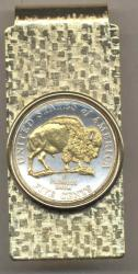 Gold on Silver Jefferson Nickel Bison Hinge Money Clip