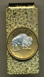 Silver on Gold Jefferson Nickel White Buffalo Folding Money Clip