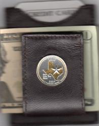 Gold on Silver Texas State Quarter Folding Money Clip