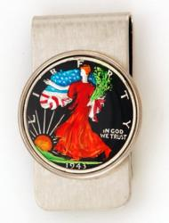 Hand Painted Walking Liberty Half Dollar (Obverse) Money Clip