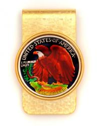 Hand Painted Walking Liberty Half Dollar (Reverse) Money Clip