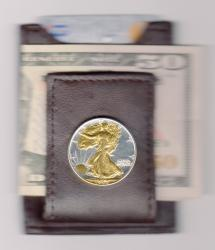 Gold on Silver Walking Liberty Half Dollar (Obv) Folding Money Clip