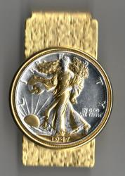 Gold and Silver on Silver Walking Liberty Half Dollar (Obv) Hinge Money Clip