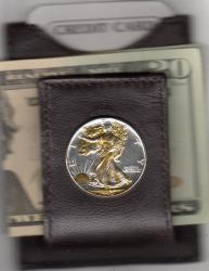 Gold and Silver on Silver Walking Liberty Half Dollar (Obv) Folding Money Clip