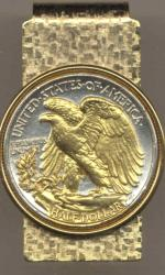 Gold on Silver Walking Liberty Half Dollar (Rev) Hinge Money Clip