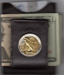 Gold on Silver Walking Liberty Half Dollar (Rev) Folding Money Clip