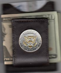 Gold and Silver on Silver Kennedy Half Dollar (Rev Eagle) Folding Money Clip