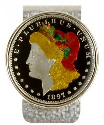 Hand Painted Morgan Dollar (Obverse) Money Clip
