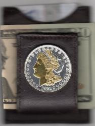 Gold and Silver on Silver Morgan Dollar (Obv) Folding Money Clip