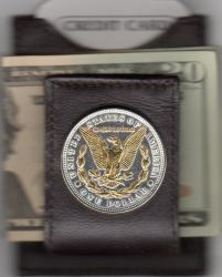 Gold on Silver Morgan Dollar (Rev) Folding Money Clip