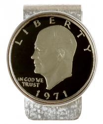 Hand Painted Eisenhower Dollar (Obverse) Money Clip