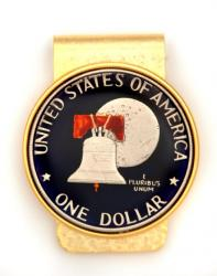 Hand Painted Eisenhower Bicentennial Dollar (Reverse) Money Clip