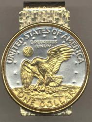 Gold on Silver Eisenhower Dollar Hinge Money Clip