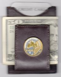 Gold on Silver Native American Dollar Folding Money Clip
