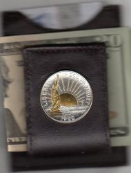 Gold on Silver Statue of Liberty Half Dollar Folding Money Clip