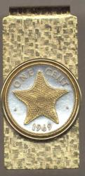 Gold on Silver Bahamas 1 Cent Starfish Hinge Money Clip
