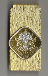 Silver on Gold Bahamas 15 Cent White Hibiscus Hinge Money Clip