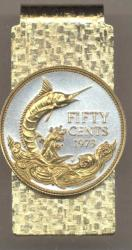 Gold on Silver Bahamas 50 Cent Blue Marlin Hinge Money Clip