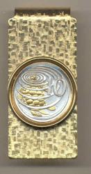 Gold on Silver Cayman Islands 10 Cent Turtle Hinge Money Clip