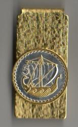 Gold and Silver on Silver Cyprus 5 Mils Viking Ship Hinge Money Clip