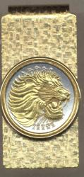 Gold on Silver Ethiopia 10 Cent Lion Hinge Money Clip