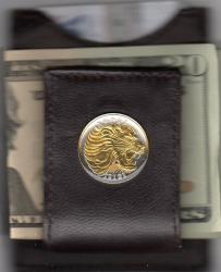 Gold on Silver Ethiopia 50 Cent Lion Folding Money Clip