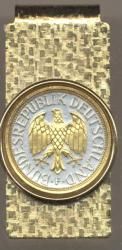 Gold on Silver Germany 1 Mark Eagle Hinge Money Clip