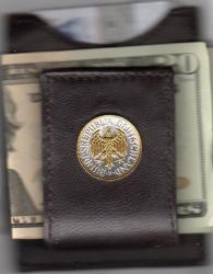 Gold on Silver Germany 1 Mark Eagle Folding Money Clip