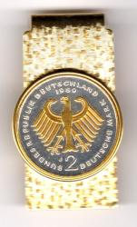 Gold on Silver Germany 2 Mark Eagle Hinge Money Clip