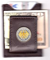 Gold on Silver Germany 2 Mark Eagle Folding Money Clip