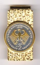 Gold and Silver on Silver Germany 2 Mark Eagle Hinge Money Clip