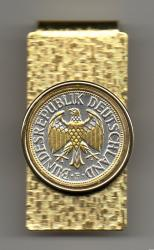 Gold and Silver on Silver Germany 1 Mark Eagle Hinge Money Clip