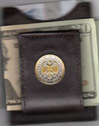 Gold and Silver on Silver Germany 1 Mark Eagle Folding Money Clip