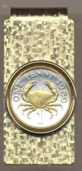 Gold on Silver Guernsey 1 Penny Crab Hinge Money Clip