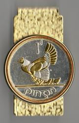 Gold and Silver on Silver Ireland 1 Penny Hen and Chicks  Hinge Money Clip