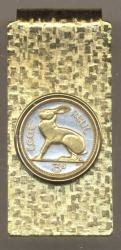 Gold on Silver Ireland 3 Pence Rabbit Hinge Money Clip