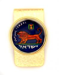 Hand Painted Israel 5 Lira Lion of Judah Money Clip