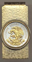 Gold on Silver Mexico 10 Centavo Eagle Hinge Money Clip